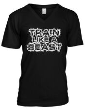 Train Like A Beast Exercise Workout Weight Lifting Wod Gym Mens V-neck T-shirt