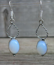 "Milky Opal 925 Sterling Silver Overlay Earrings 2"" Dangle!"