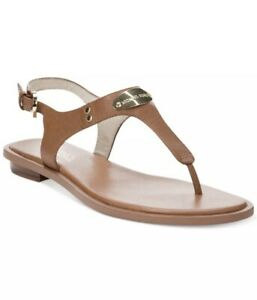 NWOB Michael Kors MK PLATE Thong Brown Leather Ankle Strap Sandals Sz 9.5 M