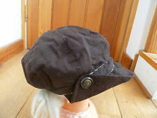 MONSOON ACCESSORIZE CHOCOLATE BROWN FLOWERY BUTTON DETAIL BAKER BOY PEAKED HAT