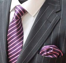 Tie Neck tie with Handkerchief Purple & Pink Stripe