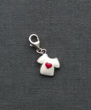 STERLING SILVER ENAMEL T SHIRT CHARM LOVE HEART CLASP  SOLID 925