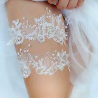 Womens Floral Lace Mesh Applique Thigh Rings Set Wedding Elastic Leg Garters