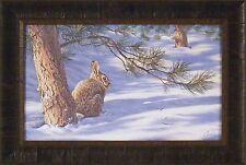 WINTER'S CANOPY by Darrell Bush 17x25 FRAMED PRINT Rabbit Bunny Tree Snow