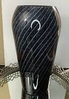 Dara International Vase Black Purple Swirl 17 1/2 Tall Italian Glass Vintage #K