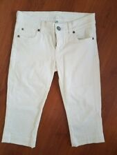 KUT from the Kloth White Capri Jeans size 4 x 18 Flap Button Pockets Stretch