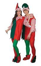 Elf Costume 5Pc Red/Green/White Felt Unisex Tunic Collar Hat & Booties Adult L/X