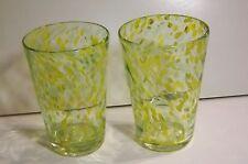 YELLOW & GREEN ART GLASS TUMBLERS HAND BLOWN_16 oz TUMBLER HANDCRAFTED ART DECO