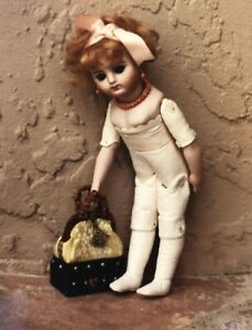 "6""ANTIQUE FRENCH MIGNONETTE CHILD JOINTED LEATHER BODY CATHY HANSEN DOLL PATTERN"