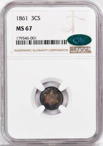 1861 Three Cent Piece - Silver Type 3 3CS NGC MS67 (CAC)