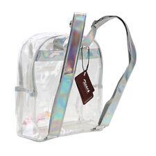 Girl's Mini Clear Transparent Backpack Satchel Tote With Laser Shoulder Straps
