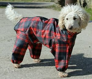 TROUSER SUIT POLYESTER TARTAN DOG COAT RAINCOAT ALL IN ONE SUIT - MADE IN THE UK