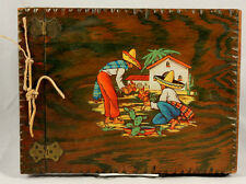 Vintage Mexican Wood Souvenir Scrap Book/Post Card Holder Hand Made/Painted
