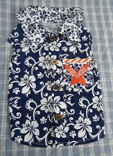 Really Cute Surf Theme Navy flowered Shirt with collar size medium