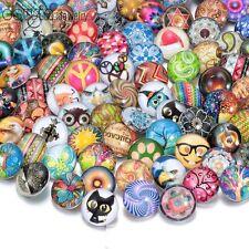 20pcs/lot Multi Styles 18mm Glass Ginger Snap Button Charms Fit Bracelet HM004