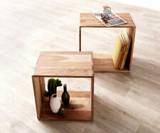 Würfelregal Eolo Akazie Natur 50x30 cm Massivholz 2er Set Beistelltisch Cube DEL