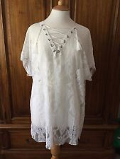 "White ""Lace"" Lace Up Front Liquorish Beach Cover Up S/M BNWT"
