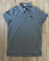 Abercrombie & Fitch Men's Polo T Shirt Grey Large 100% Cotton