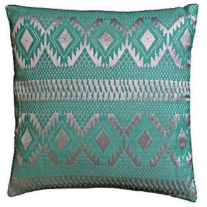 "Diamond Cushion Covers Filled Sea Green Silver Cotton Lurex 40cm 16"" Soft Shine"