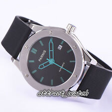 42mm Parnis Sapphire Crystal Automatic Men Casual Watch Green Mark Rubber Strap