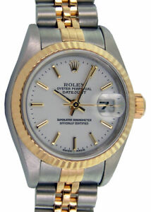 ROLEX Ladies 18kt Gold & Stainless DateJust White Stick 79173 SANT BLANC