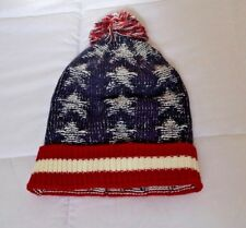 D&Y Red White Blue Knit Americana Unisex Puff Ball Stretch Beanie One Size NWOT