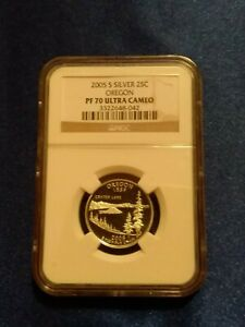 NGC 70 PF UCAM 2005 S Silver 25C Oregon State Quarter Proof