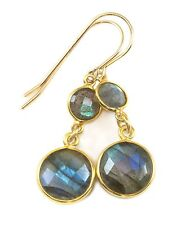 Labradorite Earrings Natural  Blue Round Bezel Faceted 14k Gold Filled Doubles