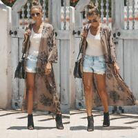 Women Ladies Long Chiffon Kimono Cardigan Shirt Long Beach Cover Up Tops Casual