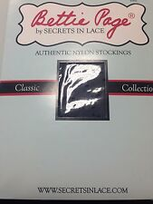 Bettie Page Inspired Secrets in Lace Nylon Stockings-Dot with Back Seam-Black-M