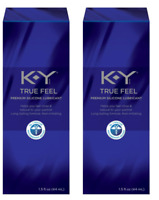 KY True Feel Premium Silicone Personal Lubricant, Long Lasting, 1.5 oz (2 Pack)