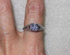 18K WHITE GOLD ART DECO DIAMOND RING - SIZE 6.5  -  LB1922