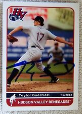 Tampa Bay Rays Taylor Guerrieri Signed 2012 Hudson Valley Renegades Card Auto