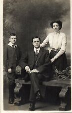 Real Photo Postcard Family in Studio, Mother, Father and Son (BBN)