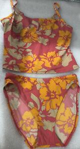 Vtg Victoria's Secret Tropical Floral Tankini & Hi Cut 2 Pc Swimsuit U/W Sz-10/M