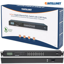 Intellinet 16 Port Gigabit Ethernet PoE+ Switch w/ 2 SFP Ports LCD Screen 561259