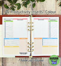 A5 PRODUCTIVITY INSERTS - PASTEL FULL COLOUR Planner Refill Filofax A DAILY PAGE