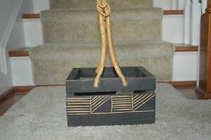 """Hand-Carved African Wood Basket~Woven Handle~Hand Crafted in Ghana~8.4""""x10""""~COA"""