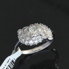 NYJEWEL 18k Solid Gold New Heart Craft 1ct Diamonds Wave Cocktail Ring