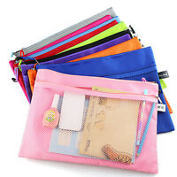 Office Stationery Mesh Zipper Bag Travel  Wallet Case Cosmetics Wash Storage Bag