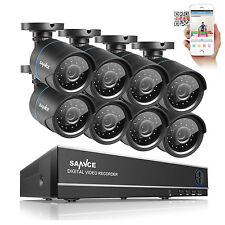 SANNCE 8-Channel 1080N 5IN1 TVI Video DVR 1500TVL Security Cameras System IR-CUT