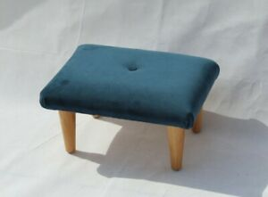 Small Velvet Buttoned Footstool - Fabric Foot Rest - Teal Velvet Stool