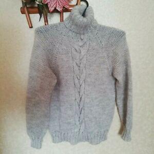 Knitted Men's Sweater Turtleneck Handmade Beige Sweater Chunky Mohair Pullover