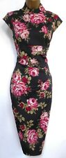 KAREN MILLEN ✩ STUNNING ORIENTAL PINK RED RED ROSE WIGGLE PENCIL DRESS ✩ UK 10