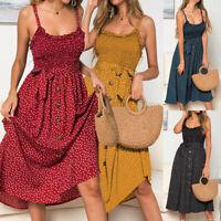 Womens Sundress Buttons Tank Ladies Swing Ruffles Backless Polka Dot Midi Dress