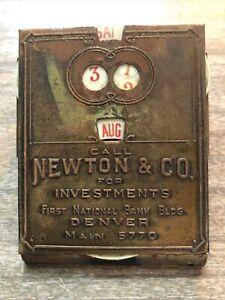 Antique ADVERTISING Paper Letter Clip Newton Investments Denver Colorado