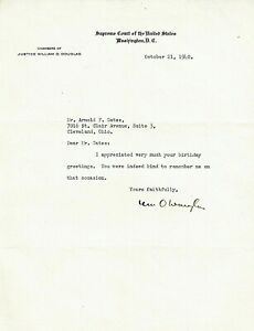 WILLIAM O. DOUGLAS. Early TLS as Supreme Court Justice re 42nd birthday wishes