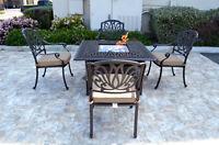 Patio conversation set cast aluminum Furniture Propane fire pit table 5 pc
