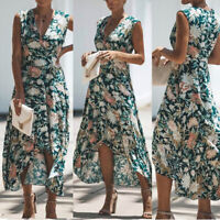 Women's Summer Casual Printed Floarl Sleeveless Beach Long Maxi Dress Sundress