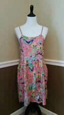 NWT Sunny Girl Modcloth Sundress M Pink Bird Butterfly Floral Springtime Boho